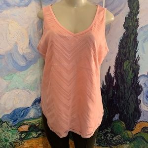 New York & Co.  Peach Sequin Mesh Lined Tank Top